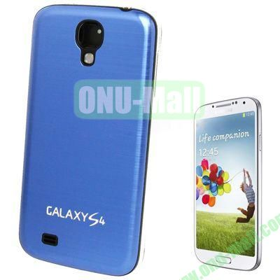 Replacement Spare Parts Full Housing+Metal Brushed Plastic Material Battery Cover for Samsung Galaxy S4 I9500 (Blue)
