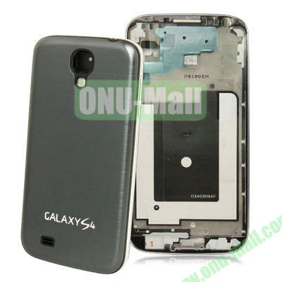 Replacement Spare Parts Full Housing+Metal Brushed Plastic Material Battery Cover for Samsung Galaxy S4 I9500 (Grey)