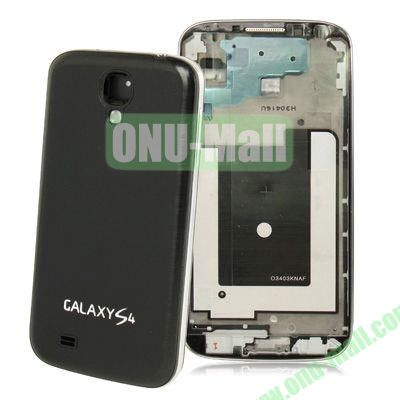 Replacement Spare Parts Full Housing+Metal Brushed Plastic Material Battery Cover for Samsung Galaxy S4 I9500 (Black)
