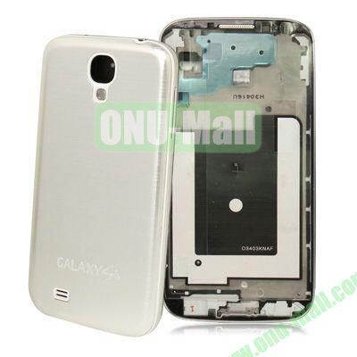 Spare Parts Chassis Full Housing+Metallic Brushed Plastic Material Battery Cover for Samsung Galaxy S4 I9500 (Silver)