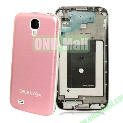 Spare Parts Chassis Full Housing+Metallic Brushed Plastic Material Battery Cover for Samsung Galaxy S4 I9500 (Pink)