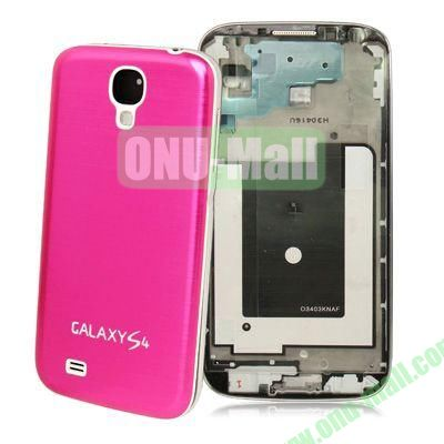 Spare Parts Chassis Full Housing+Metallic Brushed Plastic Material Battery Cover for Samsung Galaxy S4 I9500 (Rose)