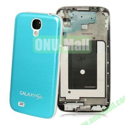 Spare Parts Chassis Full Housing+Metallic Brushed Plastic Material Battery Cover for Samsung Galaxy S4 I9500 (Light Blue)