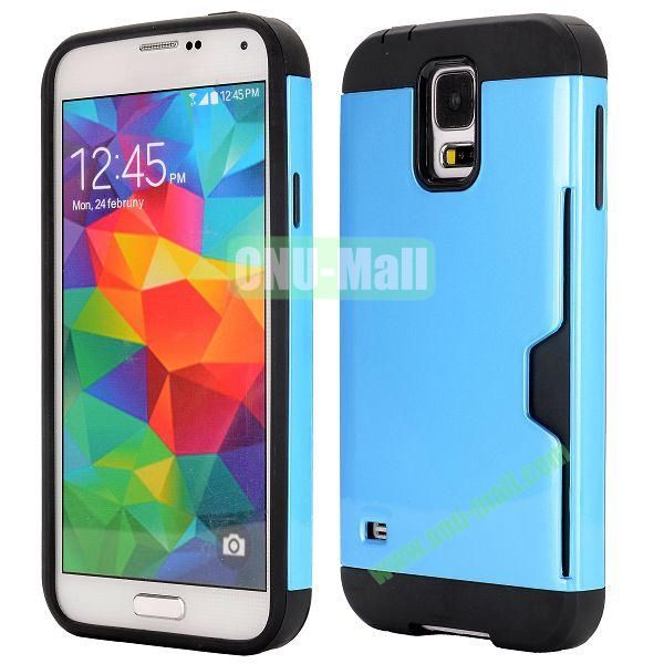 Dual Color Detachable TPU and PC Hybrid Case for Samsung Galaxy S5 I9600 (Blue and Black)
