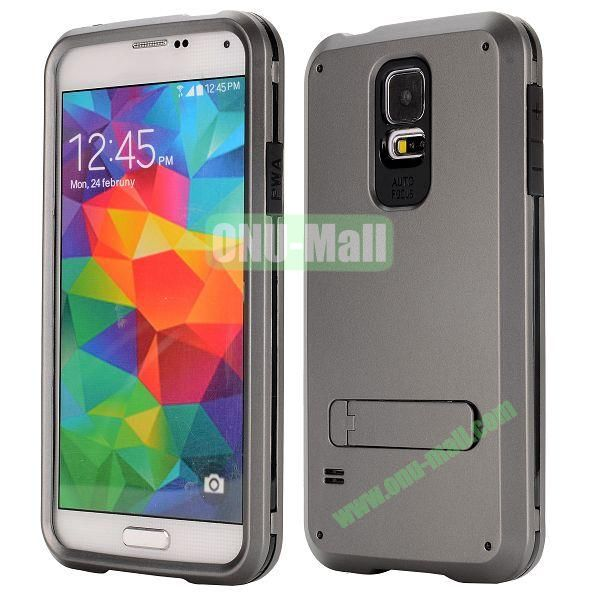 Three in One Pattern TPU and PC Hybrid Case for Samsung Galaxy S5 I9600 with Stander (Grey)