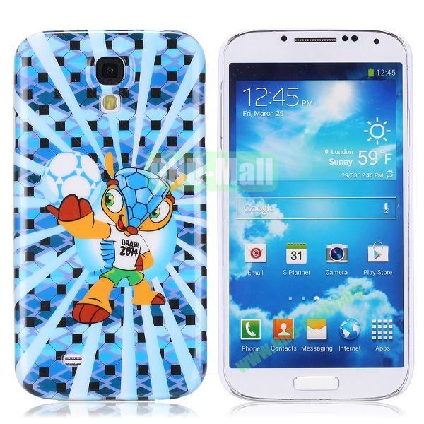 2014 FIFA Mascot Brazil World Cup Pattern Smooth Plastic Hard Back Case for Samsung Galaxy S4 i9500 (Blue)