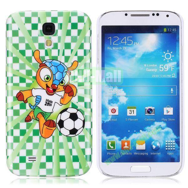 2014 FIFA Mascot Brazil World Cup Pattern Smooth Plastic Hard Back Case for Samsung Galaxy S4 i9500 (Cartoon)