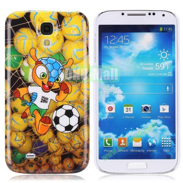 2014 FIFA Mascot Brazil World Cup Pattern Smooth Plastic Hard Back Case for Samsung Galaxy S4 i9500 (Yellow)