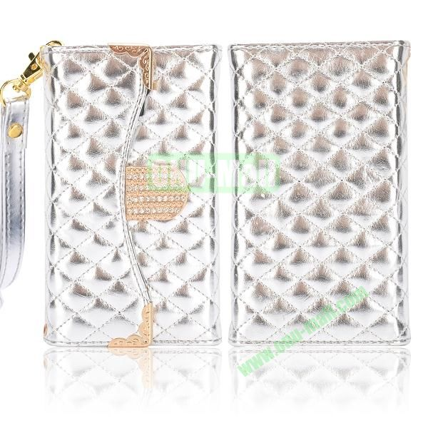 Luxury Wallet Style Grid Pattern Leather Case For Samsung Galaxy S4 i9500 i9505 i9508 (Beige)