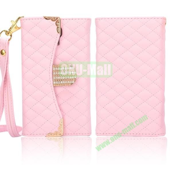 Luxury Wallet Style Grid Pattern Leather Case For Samsung Galaxy S4 i9500 i9505 i9508 (Pink)