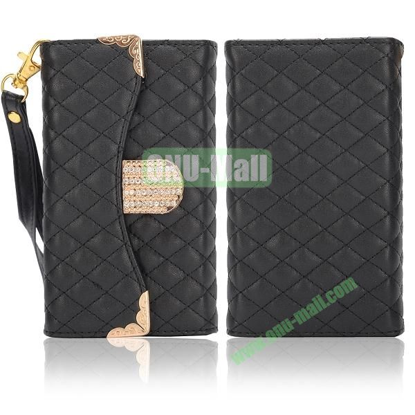 Luxury Wallet Style Grid Pattern Leather Case For Samsung Galaxy S4 i9500 i9505 i9508 (Black)