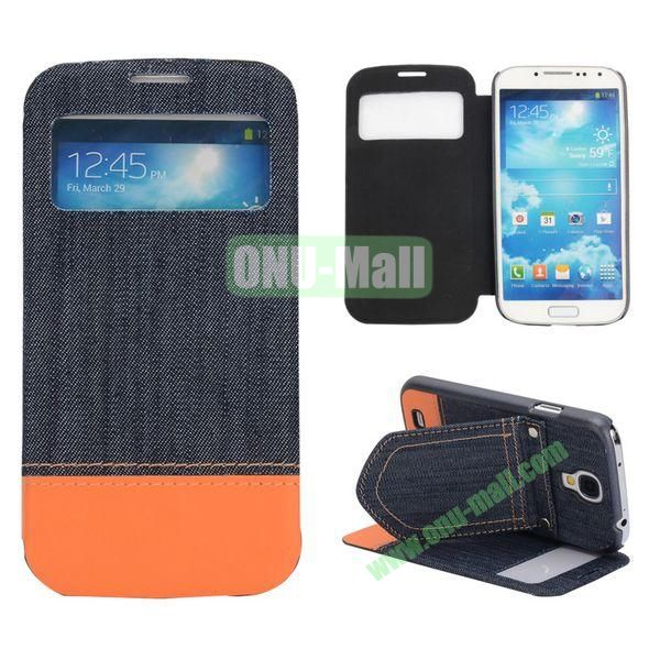 Mix Color Jeans Cloth Texture Leather Case For Samsung Galaxy S4 i9500 i9505 i9508 With Holder (Dark Blue+Orange)