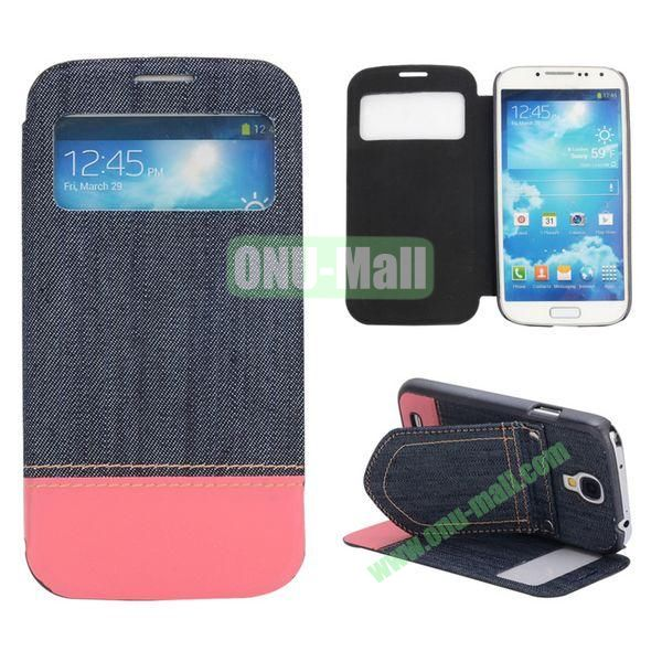 Mix Color Jeans Cloth Texture Leather Case For Samsung Galaxy S4 i9500 i9505 i9508 With Holder (Dark Blue+Hot Pink)