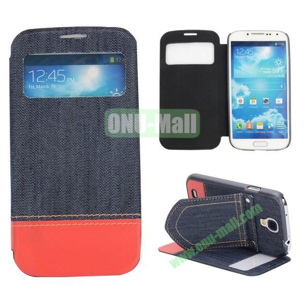 Mix Color Jeans Cloth Texture Leather Case For Samsung Galaxy S4 i9500 i9505 i9508 With Holder (Dark Blue+Red)