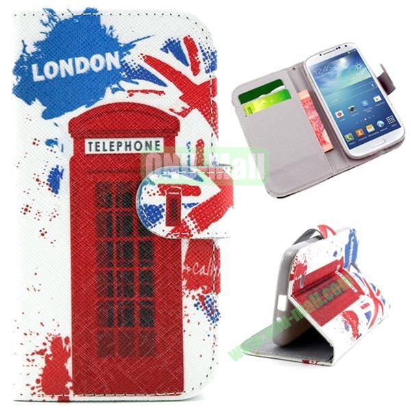 Wallet Style Cross Texture Flip PU Leather Case for Samsung Galaxy S4 I9500 with Card Slots (Telephone Booth Pattern)