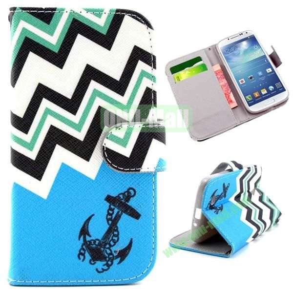 Wallet Style Cross Texture Flip PU Leather Case for Samsung Galaxy S4 I9500 with Card Slots (Blue Waves and Anchor)