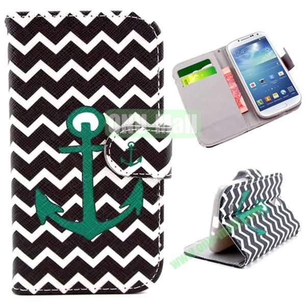 Wallet Style Cross Texture Flip PU Leather Case for Samsung Galaxy S4 I9500 with Card Slots (Black Waves and Anchor)