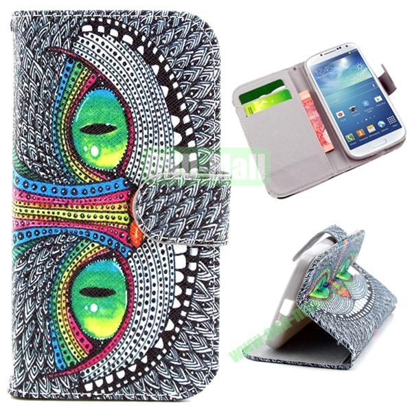Wallet Style Cross Texture Flip PU Leather Case for Samsung Galaxy S4 I9500 with Card Slots (Cool Owl Pattern)