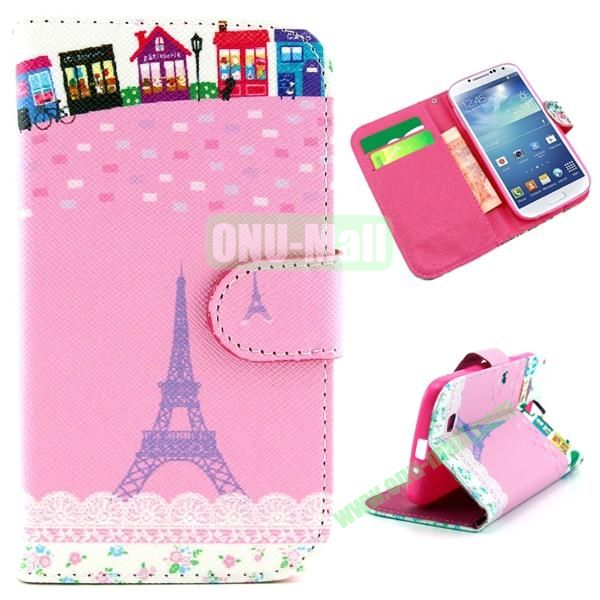 Wallet Style Cross Texture Flip PU Leather Case for Samsung Galaxy S4 I9500 with Card Slots (Pink Eiffel Tower Pattern)