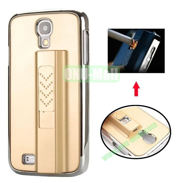 Electronic Rechargeable Smoking Cigarette Lighter Electroplated PC Hard Case for Samsung Galaxy S4 i9500 (Gold)