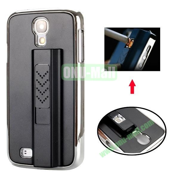 Electronic Rechargeable Smoking Cigarette Lighter Electroplated PC Hard Case for Samsung Galaxy S4 i9500 (Black)