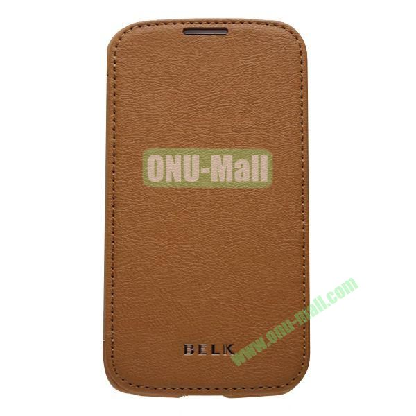 Original BELK Official Lichee Leather Case Cover for Samsung Galaxy S4  I9500 with Magnet (Brown)