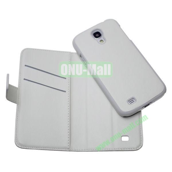 New Arrival Detachable Wallet Leather Case + PC Inside Case for Samsung Galaxy S4  i9500 (White)