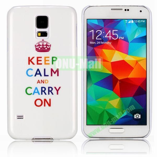 Keep Calm and Carry On Pattern Smooth Hard Case for Samsung Galaxy S5  I9600