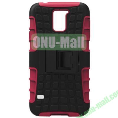 2 in 1 Silicone and Plastic Material Combo Protective Hard Case for Samsung Galaxy S5 with Holder (Rose)