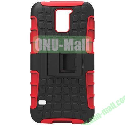 2 in 1 Silicone and Plastic Material Combo Protective Hard Case for Samsung Galaxy S5 with Holder (Red)