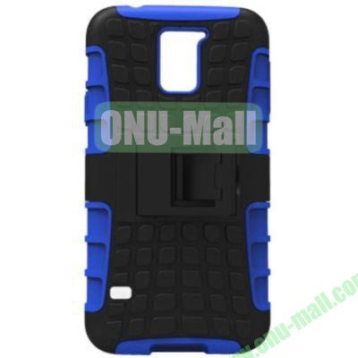 2 in 1 Silicone and Plastic Material Combo Protective Hard Case for Samsung Galaxy S5 with Holder (Blue)