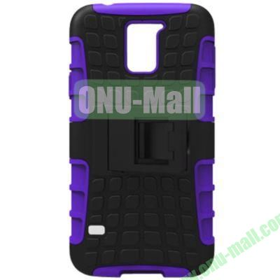 2 in 1 Silicone and Plastic Material Combo Protective Hard Case for Samsung Galaxy S5 with Holder (Purple)