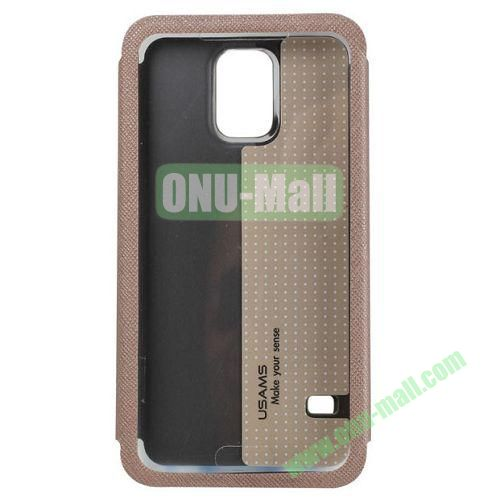 USAMS Touch Series Flip Pattern Leather Case for Samsung Galaxy S5 with Stand (Gold)