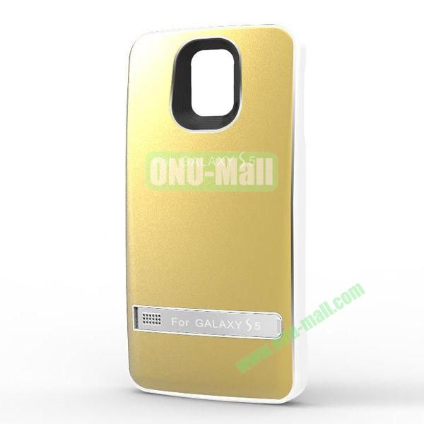 3200mAh Leather Cover + Aluminium Alloy External Battery Back Case Cover for Samsung Galaxy S5  I9600 (Gold)