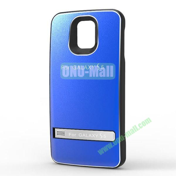3200mAh Leather Cover + Aluminium Alloy External Battery Back Case Cover for Samsung Galaxy S5  I9600 (Blue)