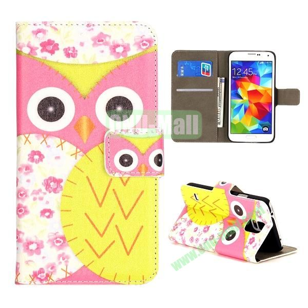 Colorful Owl Pattern Wallet Style Leather Case for Samsung Galaxy S5 I9500 with Card Slots and Magnetic Closure (Pink and Yellow)