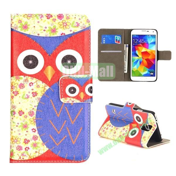 Colorful Owl Pattern Wallet Style Leather Case for Samsung Galaxy S5 I9500 with Card Slots and Magnetic Closure (Red and Purple)