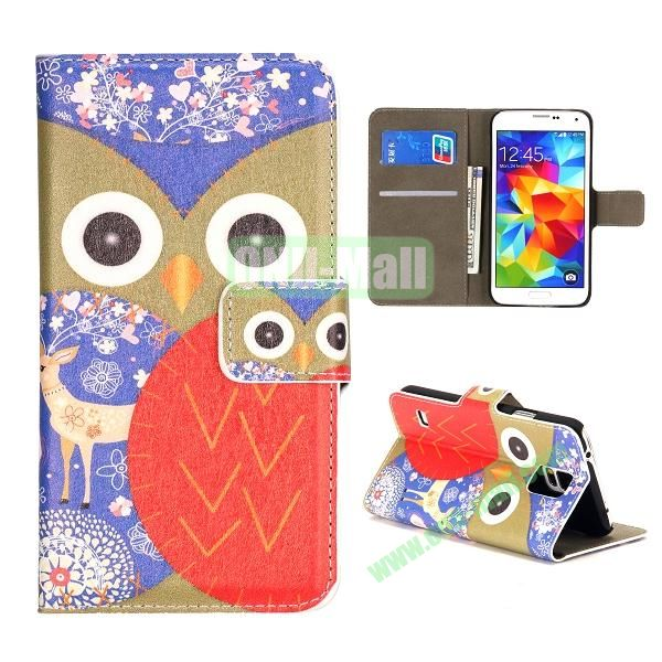 Colorful Owl Pattern Wallet Style Leather Case for Samsung Galaxy S5 I9500 with Card Slots and Magnetic Closure (Brown and Red)