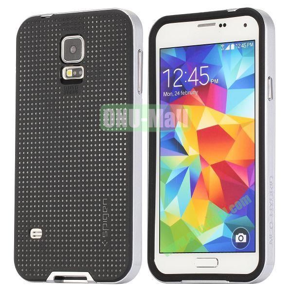 PC+TPU Case for Samsung Galaxy S5  I9600 (Silver+Black)