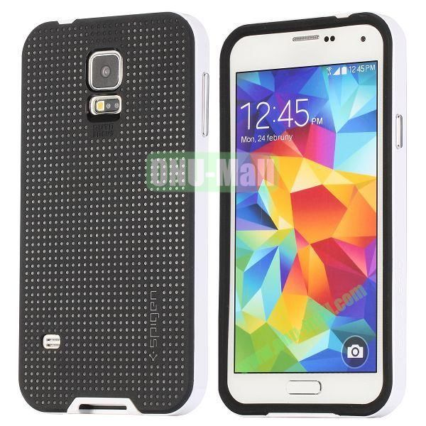 PC+TPU Case for Samsung Galaxy S5  I9600 (White+Black)