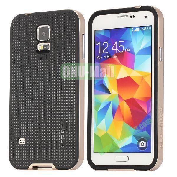 PC+TPU Case for Samsung Galaxy S5  I9600 (Champagne Gold+Black)