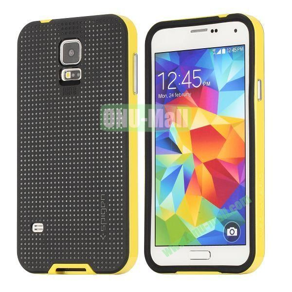 PC+TPU Case for Samsung Galaxy S5  I9600 (Yellow+Black)