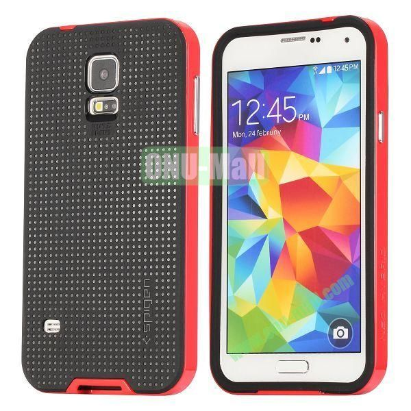 PC+TPU Case for Samsung Galaxy S5  I9600 (Red+Black)