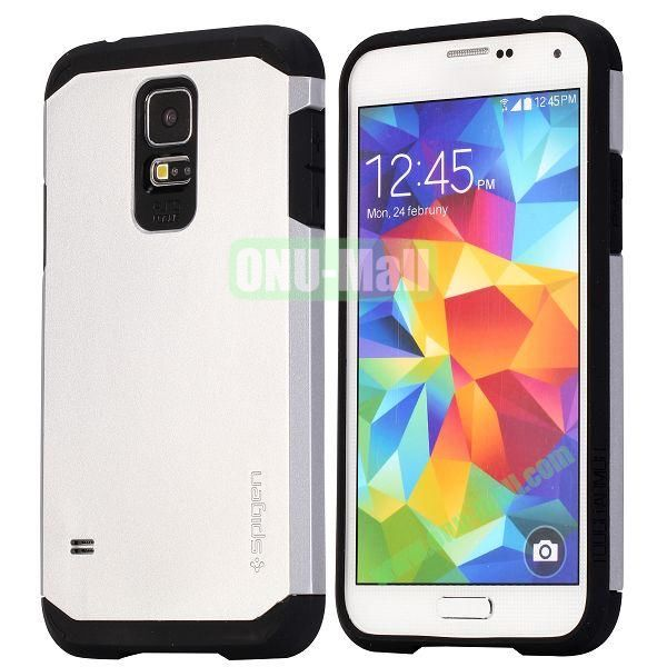 Detachable TPU + Hard PC Case For Samsung Galaxy S5  I9600 (Silver)