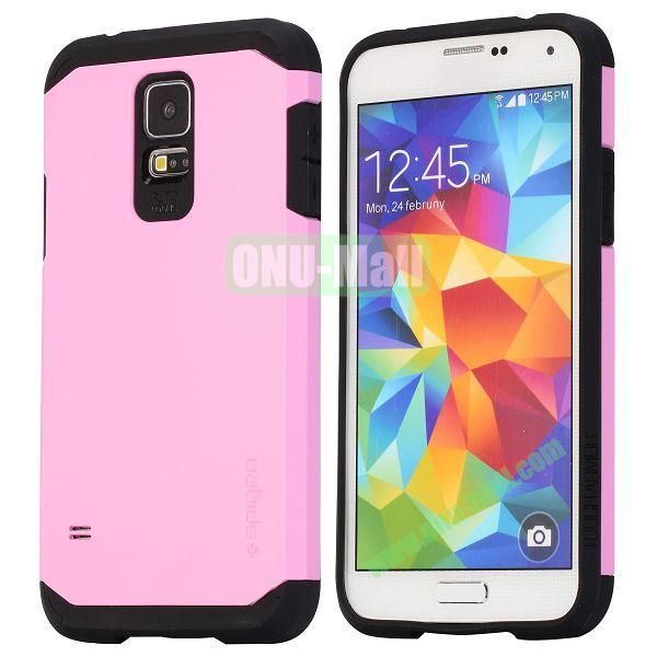 Detachable TPU + Hard PC Case For Samsung Galaxy S5  I9600 (Pink)