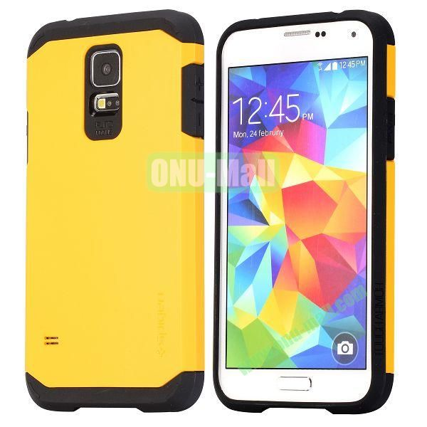 Detachable TPU + Hard PC Case For Samsung Galaxy S5  I9600 (Yellow)