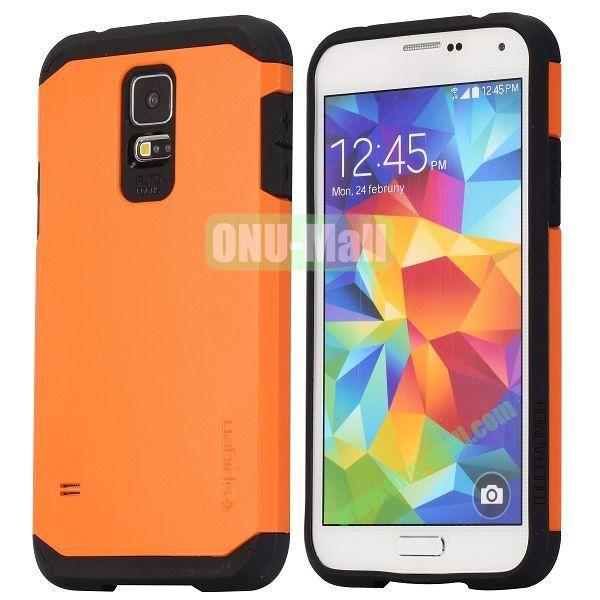 Detachable TPU + Hard PC Case For Samsung Galaxy S5  I9600 (Orange)