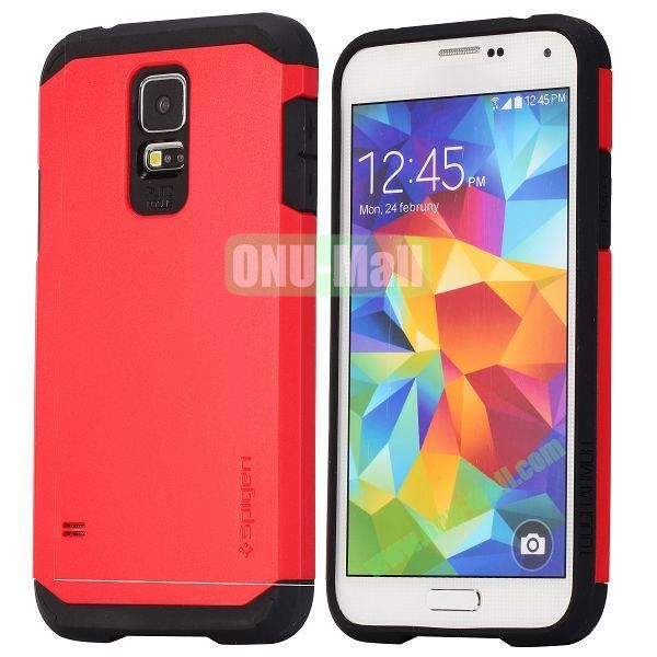 Detachable TPU + Hard PC Case For Samsung Galaxy S5  I9600 (Red)