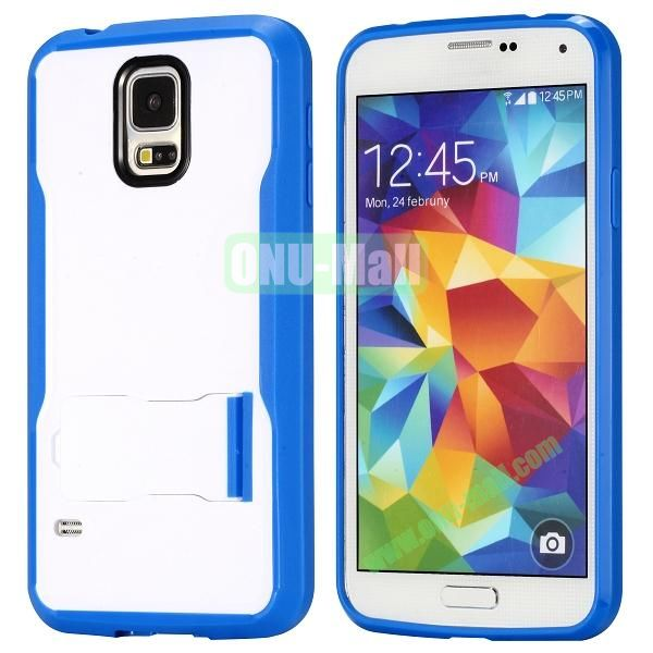 Mix Color Hybrid PC and TPU Case with Kickstand for Samsung Galaxy S5 (Blue and White)