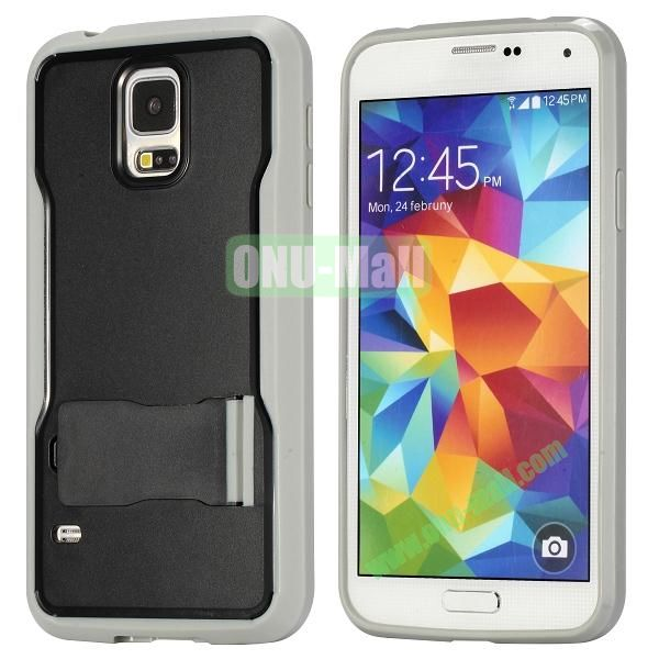 Mix Color Hybrid PC and TPU Case with Kickstand for Samsung Galaxy S5 (Black and Grey)